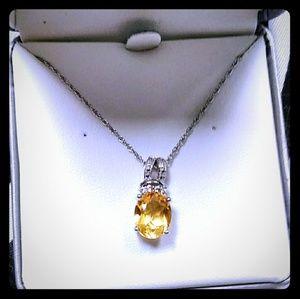 Citrine White Sapphire Pendant Necklace